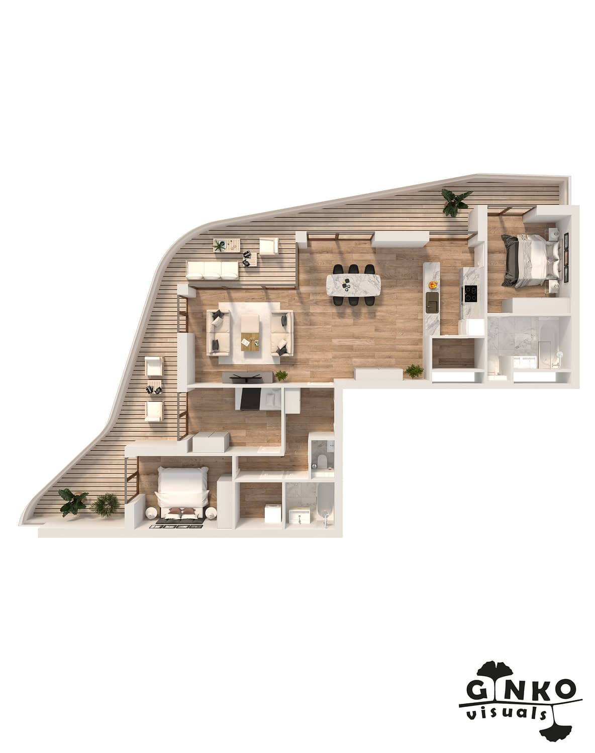3D layouts of apartments